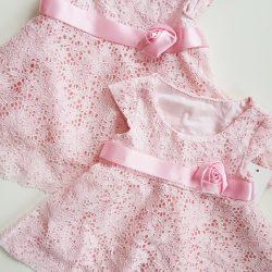 8daf98239003 Čipkované šaty s krátkymi rukávmi – Ružová